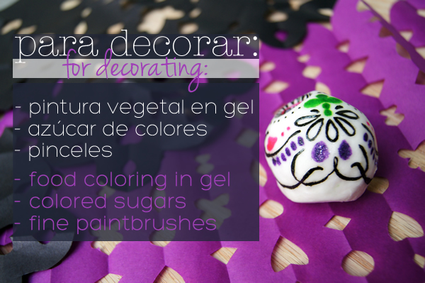 ingredientes para decorar calaveras