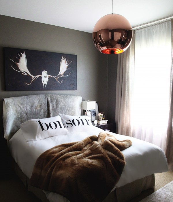 black and copper bedroom